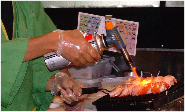 blow torch on meat